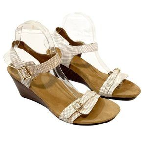 Vionic Laurie White Leather Wedge Sandals 9